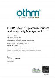 LSBR, UK - Sample Level 7 Diploma in Tourism and Hospitality Management