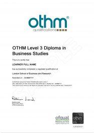 LSBR, UK - Sample Level 3 Diploma in Business Studies