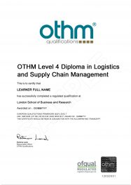 LSBR, UK - Sample Level 4 Diploma in Logistics and Supply Chain Management