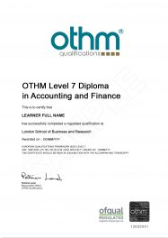 LSBR, UK - Sample Level 7 Diploma in Accounting and Finance