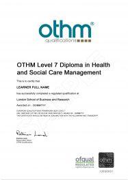 LSBR, UK - Sample Level 7 Diploma in Health and Social Care Management qualification