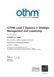 LSBR, UK - Sample Level 7 Diploma in Strategic Management and Leadership