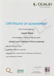 LSBR, UK Qualifi Level 7 Diploma in CPD Leadership