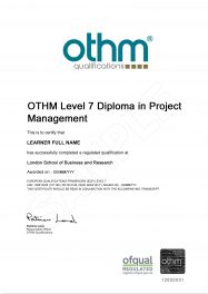 LSBR, UK - Sample Level 7 Diploma in Project Management