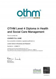 LSBR, UK - Sample Level 4 Diploma in Health and Social Care Management