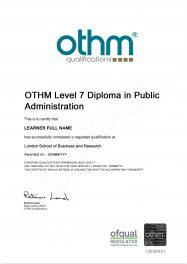 LSBR, UK - Sample Level 7 Diploma in Public Administration