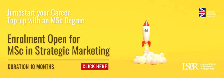 Online MSc in Strategic Marketing 10 months degree course at LSBR, UK