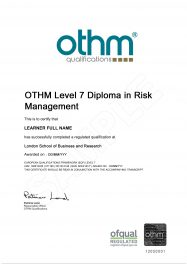 LSBR, UK - Sample Level 7 Diploma in Risk Management